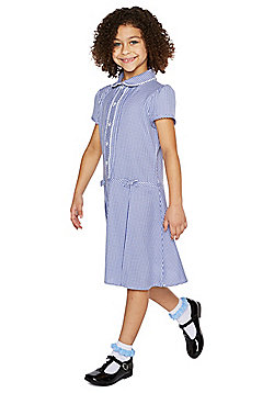 F&F School Girls Easy Care Gingham Dress with Scrunchie - Navy