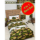 Army Camp Camo 4 in 1 Junior Bedding Bundle Set
