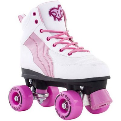 Rio Roller Pure White/Pink Quad Roller Skates JNR 13