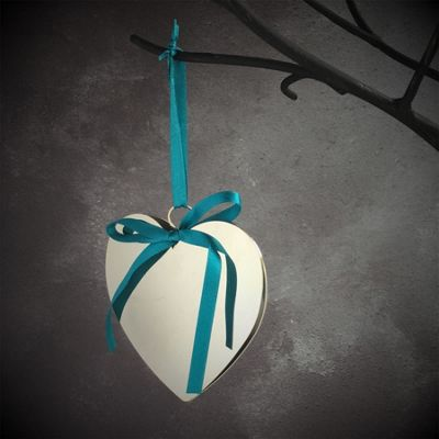 Silver Heart With Turquoise Ribbon