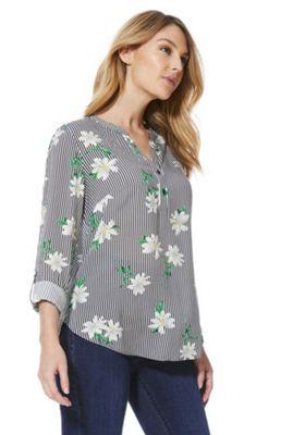 F&F Collarless Striped Floral Shirt White Multi 8