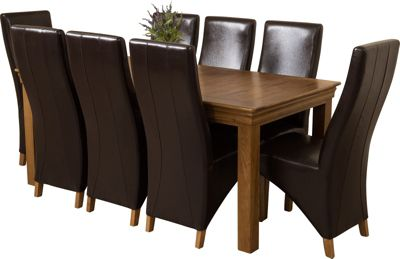 French Chateau Rustic Solid Oak 180 cm Dining Table with 8 Brown Lola Leather Chairs