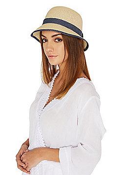 F&F Polka Dot Trim Cloche Hat - Straw