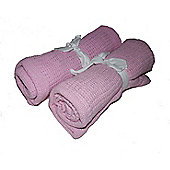 2 New Pink Cellular Baby Blankets 100% Cotton 70x90cm