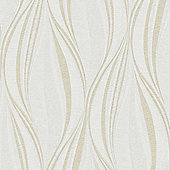 Boutique Tango Embossed Geometric Ivory Wallpaper