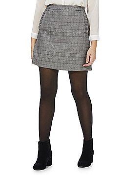 F&F Frill Trim Houndstooth Mini Skirt - Multi