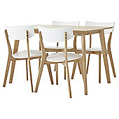 Charlie rectangle table set with 4 chairs, oak-effect & white