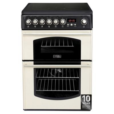 Cannon by Hotpoint CH60ETCS, Freestanding, Electric Cooker, 60cm, Cream, Twin Cavity, Double Oven