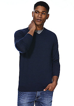 F&F Signature Merino Wool V-Neck Jumper - Petrol blue