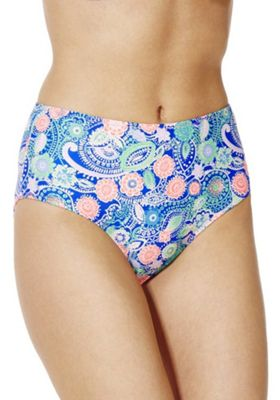 South Beach Paisley Print High Waisted Bikini Briefs Multi 8