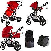 Your Baby Dakota 5 Piece Pramette Travel System - Red - Inc Footmuff & Parasol