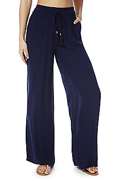 F&F Crinkle Wide Leg Beach Trousers - Navy