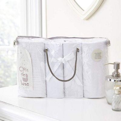 Clair de Lune 4pc Moses Basket Bedding Bale Gift Set (White)