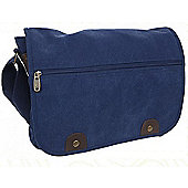 Summit Canvas Messenger Bag with Front Zip Blue