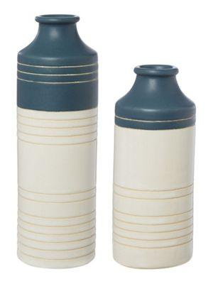 Linea Ceramic Stripe Vase Small In Navy New