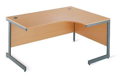 DSK Office Left Handed Ergonomic Desk With Cantilever Legs - 1800mm in Beech