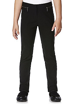 F&F School Girls Stretch Bengaline Slim Leg Trousers - Black