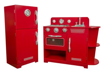 Teamson Kids Classic Play Kitchen - Red (2 Piece)