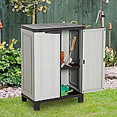 Outsunny Plastic Utility Cabinet Garden Tool Patio Double Door Storage Adjustable Shelves - Grey