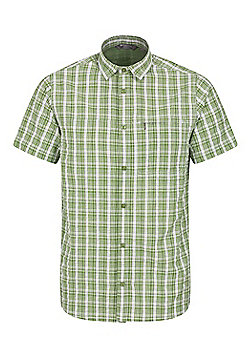 Mountain Warehouse Mens 100% Cotton Holiday Shirt w/ Easy Care & Mesh Lining - Green