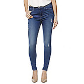 F&F Contour Distressed High Rise Super Skinny Jeans with LYCRA® BEAUTY - Mid wash