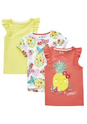 F&F 3 Pack of Pineapple, Floral and Plain T-Shirts Multi 12-18 months