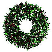 45cm Holly and Berry Tinsel Christmas Wreath Decoration