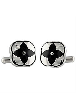 Urban Male Falcopia Square Black and Silver Finish Stainless Steel Cufflinks For Men