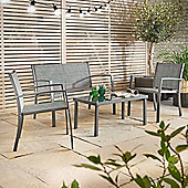 VonHaus 4 Piece Textoline Table and Chairs Set – Made from Low Maintenance and Easy-clean Fabrics