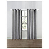 Basketweave Lined Eyelet Curtains, Duck Egg (66 x 54'') - Grey