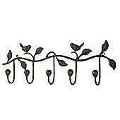 Twilight - Metal Bird Themed Wall 5 Hanging Hooks - Black