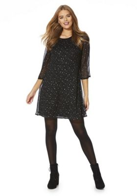 Vero Moda Star Print A-Line Dress Black M