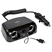 Ring Automotive 12V Twin Micro USB & USB Multisocket 10A