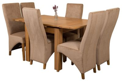 Richmond Small Extending Solid Oak Dining Set Table and 6 Beige Fabric Chairs