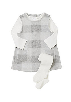 F&F Checked Pinafore with Long Sleeve T-Shirt and Tights - Grey