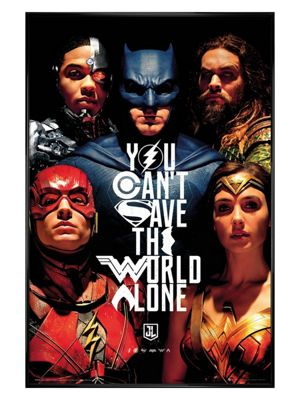 Justice League of America Gloss Black Framed Faces Poster