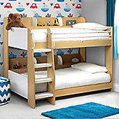 Happy Beds Domino Maple and White Wooden and Metal Kids Storage Bunk Bed 2 Memory Foam Mattresses 3ft Single