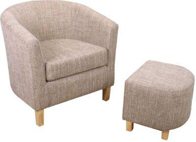 Tweed Tub Chair & Footstool Set - Natural
