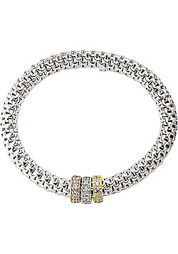 Rhodium Coated Sterling Silver CZ Stretchy Expander Bracelet