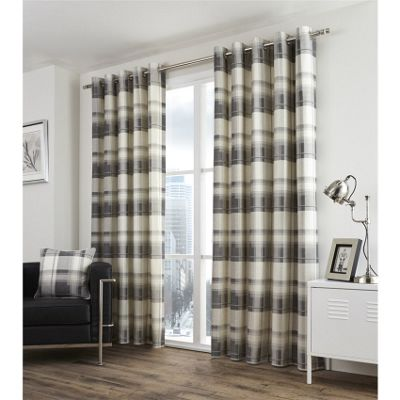 Fusion Balmoral Check Slate Lined Curtains - 66x72 Inches (168x183cm)