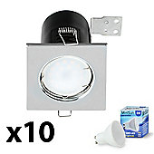 10 x Square Fire Rated LED GU10 Downlights - Warm White