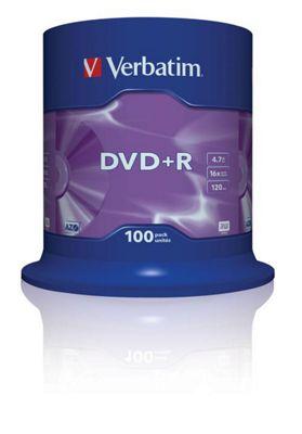Verbatim DVD+R 4.7GB 16x Matt Silver Spindle - 100 Pack