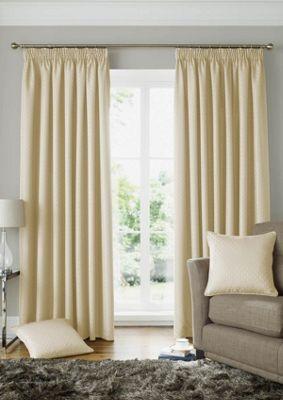 Alan Symonds Lined Solitaire Cream Pencil Pleat Curtains - 90x72 Inches (229x183cm)
