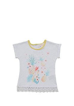 Pumpkin Patch Tropical Print Crochet Hem T-Shirt - White
