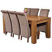 Kuba Chunky 180cm Kitchen Solid Oak Dining Set Table + 6 Grey Fabric Chairs