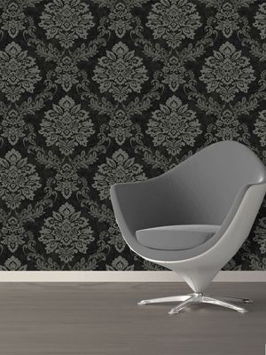 Palazzo Damask Textured Vinyl Wallpaper Black and Silver Arthouse 290400