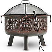 VonHaus Geo Fire Pit Decorative Black Steel