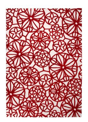 Esprit Society White / Red Contemporary Rectangular Rug