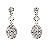 Sterling Silver Oval CZ Pave Set Earrings
