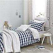 Little Bianca Cotton Soft Gingham Cotton Print Blush Duvet Cover Set - Blue